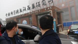 بعثة خبراء منظمة الصحة العالمية لدى وصولها إلى معهد ووهان لعلوم الفيروسات في وسط الصين في 3 شباط/فبراير 2021.