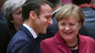 "Macron and Merkel, both weakened domestically, will meet in the French border town of Aix-la-Chapelle to ink an accord ""which will strengthen the already close ties between Germany and France,"" the French presidency said"