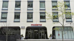 Vista de la sede de Moderna en Cambridge, Massachusetts, el 18 de mayo de 2020