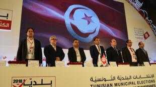 Annonce des résultats par l'instance supérieure indépendante pour les élections à Tunis, le 9 mai 2018.