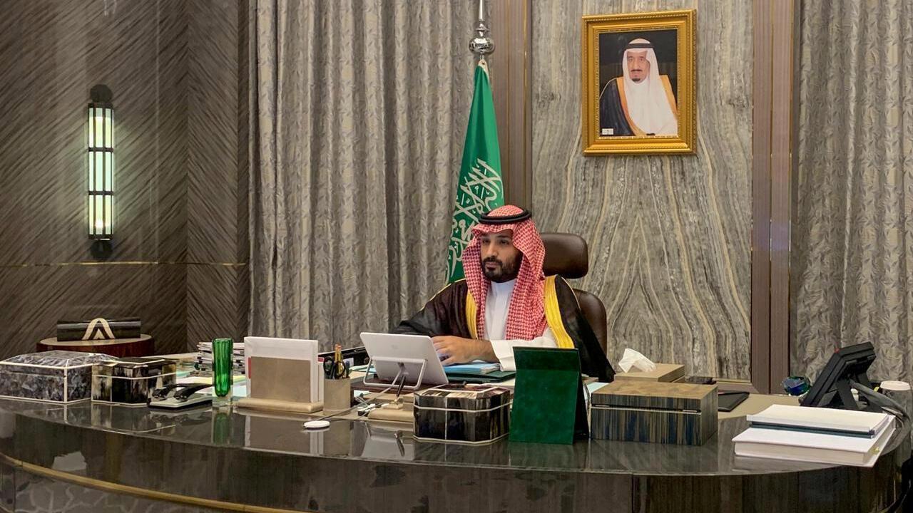 Saudi Crown Prince Mohammed bin Salman attends a virtual cabinet meeting in Riyadh, Saudi Arabia August 18, 2020. Picture taken August 18, 2020.