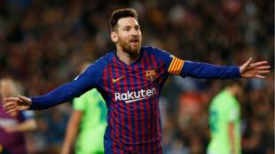 ميسي محتفلا بهدف الفوز في مرمى ليفانتي (1-صفر) في الدوري الإسباني. 27 أبريل/نيسان 2019.