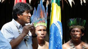 El presidente de Bolivia, Evo Morales, participa durante una cumbre donde presidentes de los países amazónicos discuten fórmulas para la preservación de este ecosistema, y donde se firmará el Pacto de Leticia por la Amazonía. Leticia, Colombia, 06/09/2019.