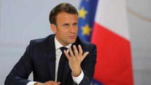 Emmanuel Macron, le 25 avril 2019, à l'Élysée, présente une série de mesures issues du grand débat.