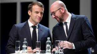 الرئيس الفرنسي ماكرون ورئيس الوزراء البلجيكي شارل ميشال في 20 نوفمبر 2018