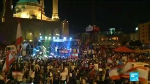 Des milliers de Libanais étaient encore dans les rues pour réclamer le départ de la classe politique actuelle, le 21 octobre 2019.