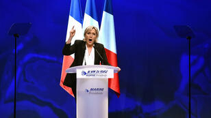 Marine Le Pen lors de son meeting à Nantes le 26 février.