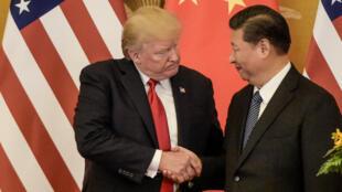 الرئيس الصيني شي جينبينغ ونظيره الأمريكي دونالد ترامب في بكين، في 9 نوفمبر 2017.