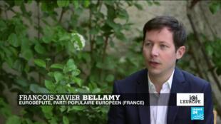 François-Xavier Bellamy, député européen, chef de file du Parti populaire européen pour les Français au Parlement européen, le 17 avril 2020.