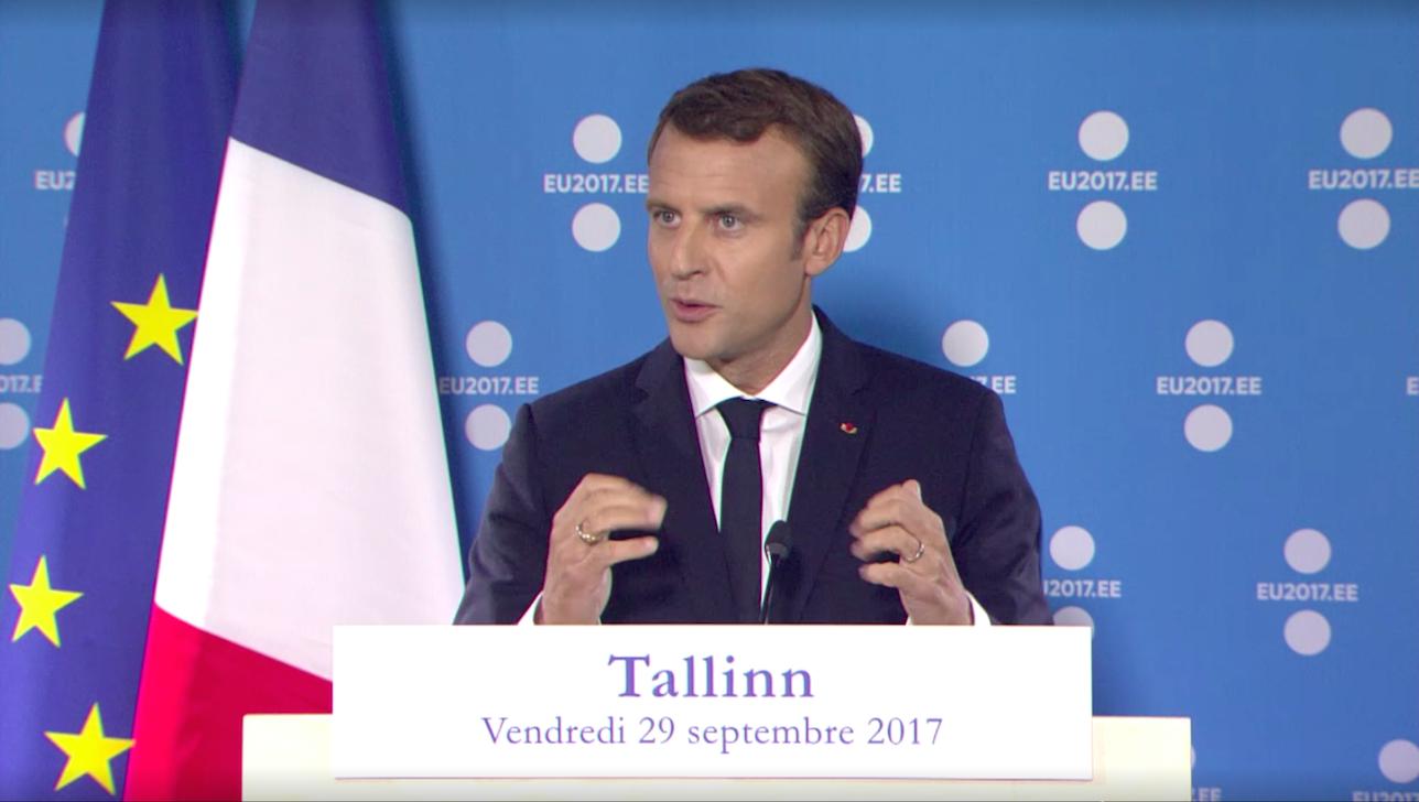 Emmanuel Macron lors de son discours au somment numérique européen de Tallinn, le 29 septembre 2017.