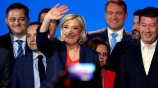 Marine Le Pen, líder del Frente Nacional de Francia, asiste a la reunión de líderes populistas de extrema derecha en Niza, Francia. 1 de mayo de 2018.