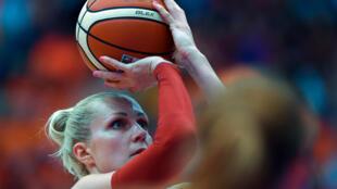 Belarus basketball player Yelena Leuchanka, pictured in 2015, was jailed for 15 days over protests against President Alexander Lukashenko