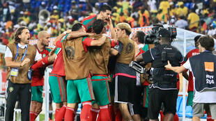 فرحة عناصر المنتخب المغربي