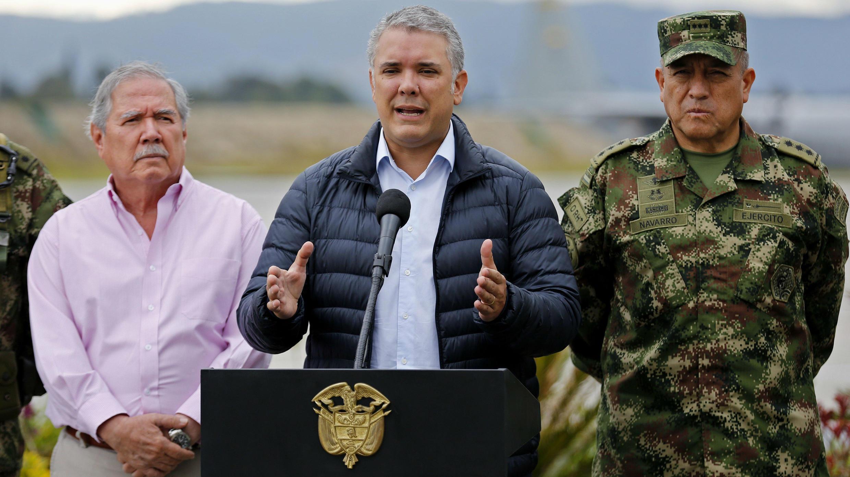 El presidente de Colombia, Iván Duque, antes de partir a Davos, reiterando su pedido a Cuba de que entregue a los negociadores del ELN. 22 de enero de 2019.