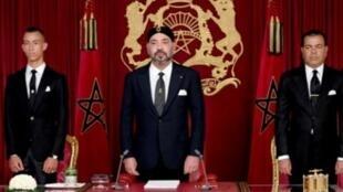 صورة نشرها الديوان الملكي للعاهل محمد السادس قبل أن يلقي كلمة في الذكرى الـ19 لاعتلائه العرش في 29 تموز/يوليو 2018.