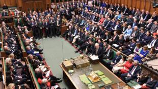 رئيس الوزراء البريطاني بوريس جونسون يلقي خطابا أمام مجلس النواب البريطاني. 20/12/2019