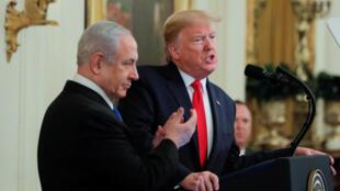 Donald Trump et Benjamin Netanyahu ont tenu une conférence de presse pour présenter le plan américain de paix pour le Proche-Orient, le 28 janvier 2020, à la Maison Blanche.