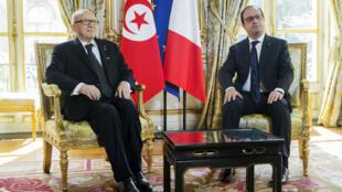Le président François Hollande a reçu son homologue tunisien Béji Caïd Essebsi pour une visite officielle de deux jours, le 7 avril 2015.