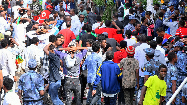 Los ciudadanos habían asistido a la concentración en la plaza Meskel en el centro de Adís Abeba, la capital