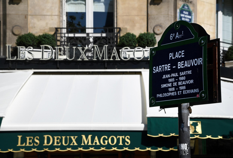 The restaurant Les Deux Magots on Paris' Left Bank on April 22, 2020.