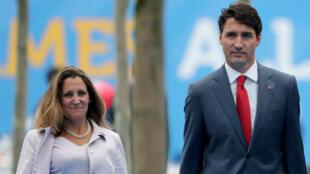 Chrystia Freeland, ministre canadienne des Affaires étrangères et le Premier ministre Justin Trudeau.