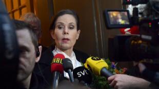 ساره دانيوس الأمينة الدائمة المستقيلة من الأكاديمية السويدية لجوائز نوبل للآداب 12 نيسان/أبريل 2018.