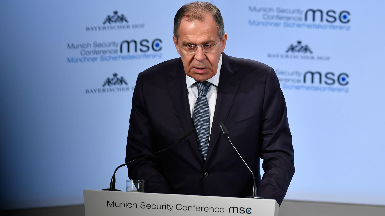 Intervención del ministro de Exteriores de Rusia, Sergei Lavrov, durante la Conferencia de Seguridad de Múnich. 17 de febrero de 2017.