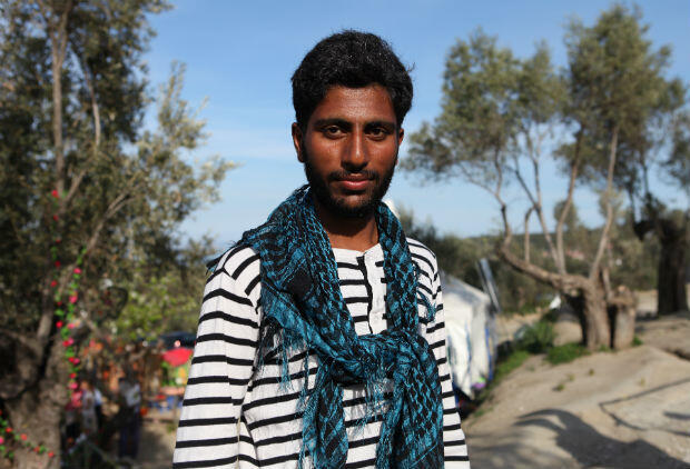 Sham, a 19-year-old Pakistani national who arrived on Lesbos on February 28 but could not register before March 24. He's now afraid of being deported. Photo: Sarah Leduc / FRANCE 24