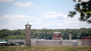 A guard tower sits along a security fence at the Federal Correctional Complex where Daniel Lewis Lee was executed on July 14, 2020 in Terre Haute, Indiana, USA.