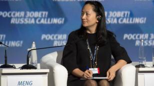 Meng Wanzhou, Directora Ejecutiva del gigante tecnológico chino Huawei, asiste al Foro de Inversión de Capital de VTB. Rusia, 2 de octubre de 2014.
