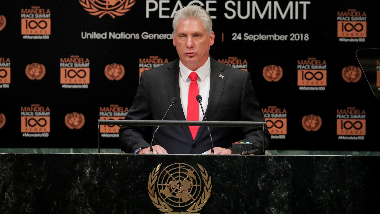 El presidente de Cuba, Miguel Diaz-Canel, habla en la ONU, en Nueva York, EE. UU., el 24 de septiembre de 2018.
