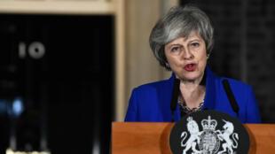 La primera ministra británica, Theresa May, hace una declaración a la prensa en Londres, Reino Unido, 16 de enero de 2019.