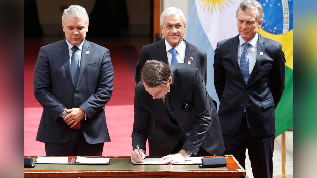 El presidente de Argentina, Mauricio Macri; el presidente de Colombia, Ivan Duque; el presidente de Brasil, Jair Bolsonaro, y el presidente de Chile, Sebastián Piñera, asisten a la cumbre de Prosur.