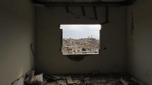 Picture taken on March 6, 2020, shows a damaged house in the town of Binnish, in Syria's northwestern Idlib province.