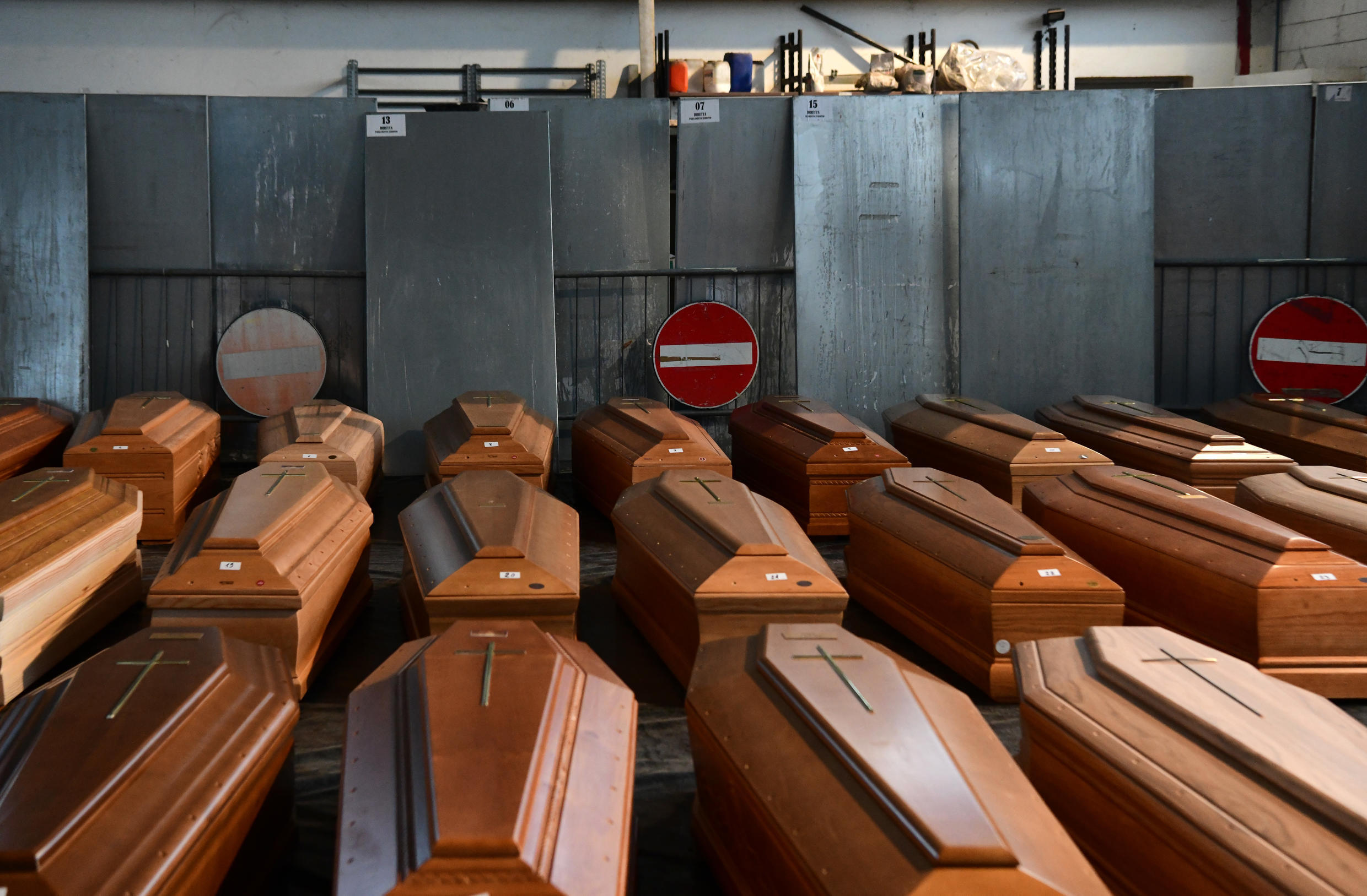 The endless flood of victims has forced the city of Bergamo to send bodies to less burdened crematoriums, sometimes hundreds of kilometres away.