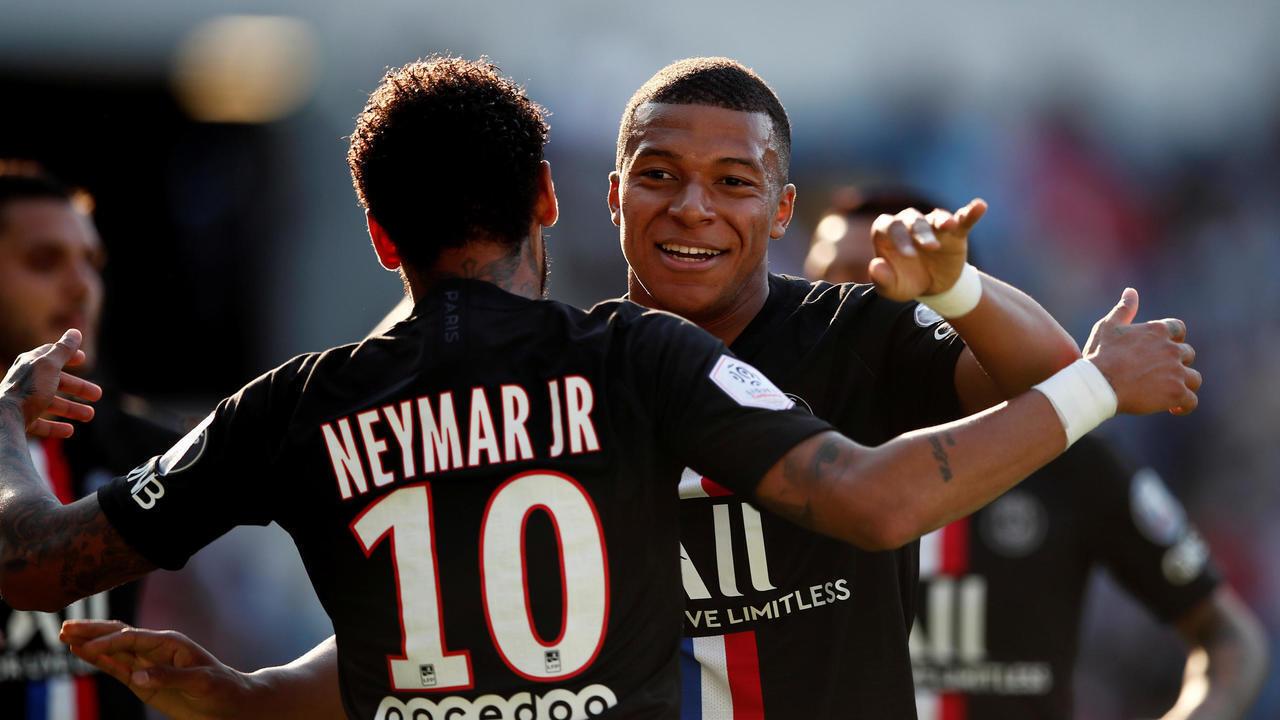نيمار وكيليان مبابي في المباراة الودية 9-0 ضد لوهافر في 12 يوليو/تموز 2020.