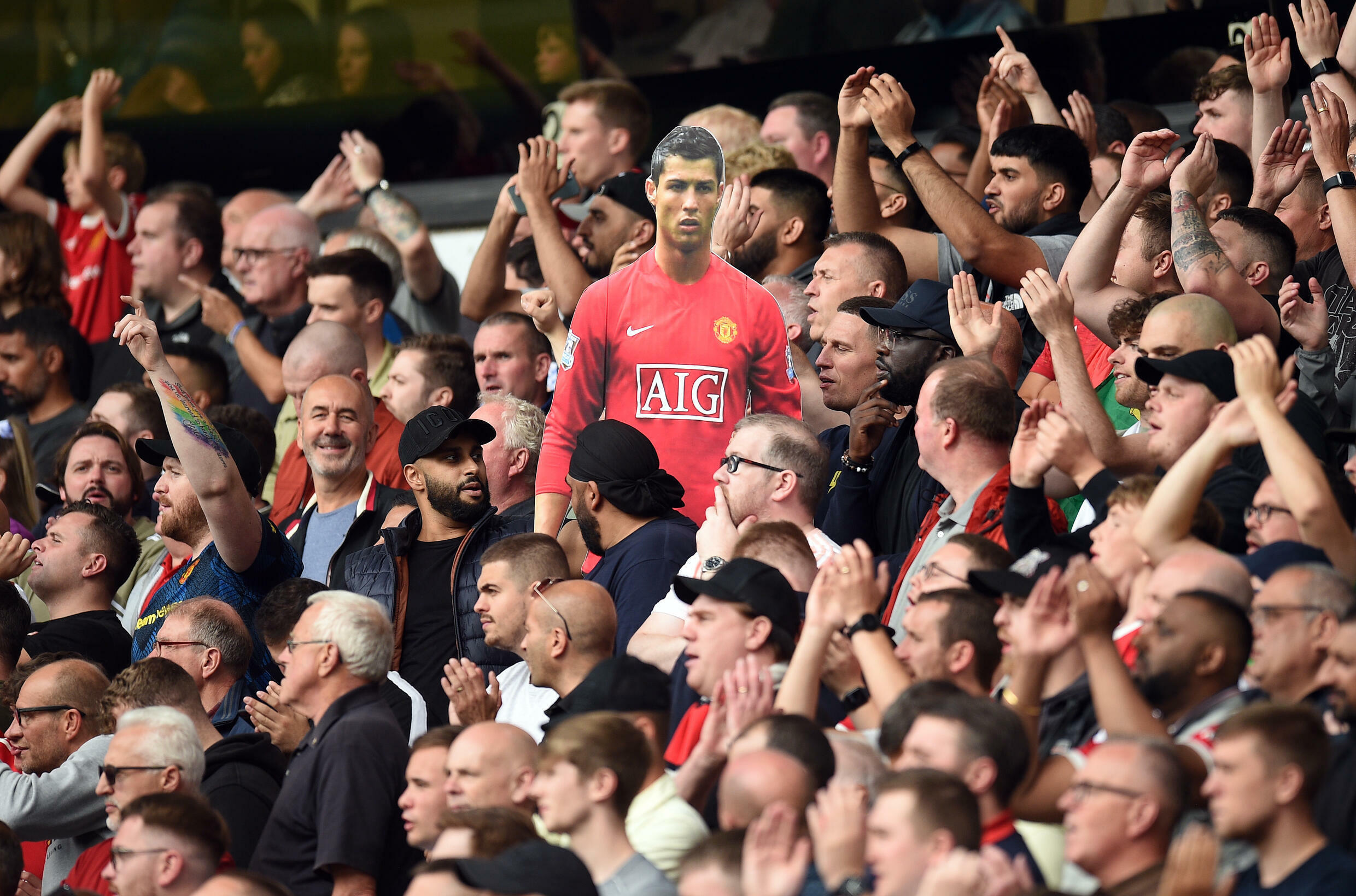 Manchester United fans held up a cardboard cut out of Cristiano Ronaldo in a 1-0 win at Wolves