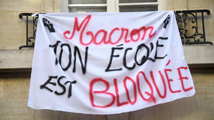 Sciences Po bloqué par les étudiants, le 18 avril 2018 à Paris.