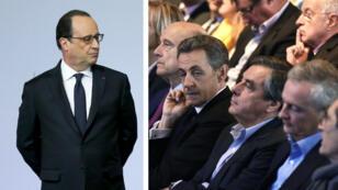 De gauche à droite, le président de la République François Hollande. Et Alain Juppé, Nicolas Sarkozy, François Fillon et Bruno Le Maire.