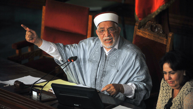 Abdelfattah Mourou à l'Assemblée des représentants du peuple à Tunis, le 24juillet2015.