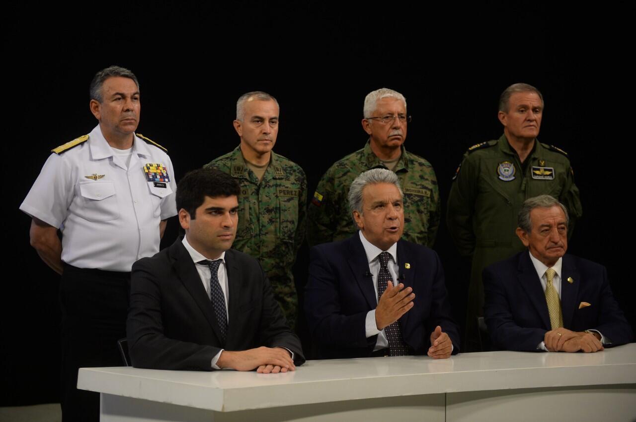 El presidente ecuatoriano, Lenín Moreno, durante el mensaje que ofreció el 7 de octubre de 2019.