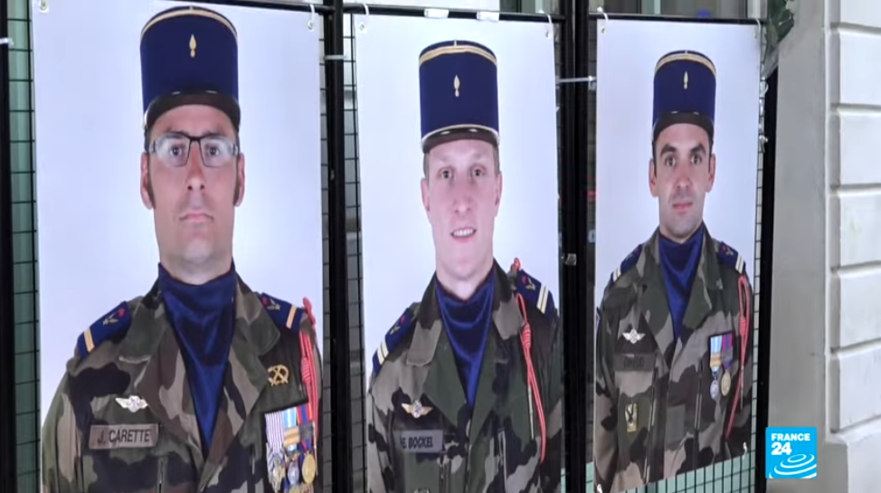 Screengrab of commemorations for the French soldiers killed in Mali helicopter crash.