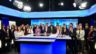 The entire team for a photo shoot at the France 24 studio in Bogota, Colombia. August 2017.