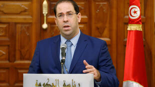 يوسف الشاهد في مؤتمر صحفي في تونس العاصمة، 26 أكتوبر/ تشرين الأول 2018
