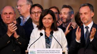 La maire de Paris, Anne Hidalgo, réagit à sa victoire au second tour des élections municipales, à Paris, le 28 juin 2020.