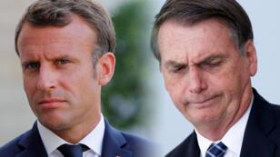El presidente francés Emmanuel Macron y el mandatario brasileño Jair Bolsonaro.