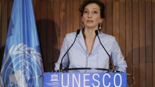 Audrey Azoulay, lors d'une conférence de presse, le 13 octobre 2017, au siège de l'Unesco à Paris.