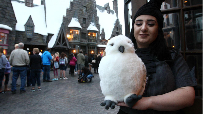 """Une """"Potterhead"""" dans le monde de Harry Potter aux Studios Universal à Hollywood, en avril 2016."""