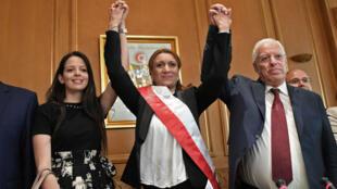 سعاد عبد الرحيم مرشحة حزب النضهة الإسلامي أول تونسية تفوز بمنصب رئيس بلدية تونس، 3 تموز/يوليو 2018
