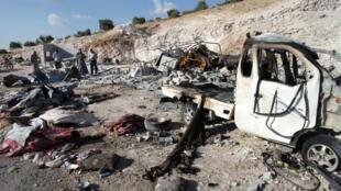 La localité de Hass a été visée par plusieurs frappes samedi 8 septembre.